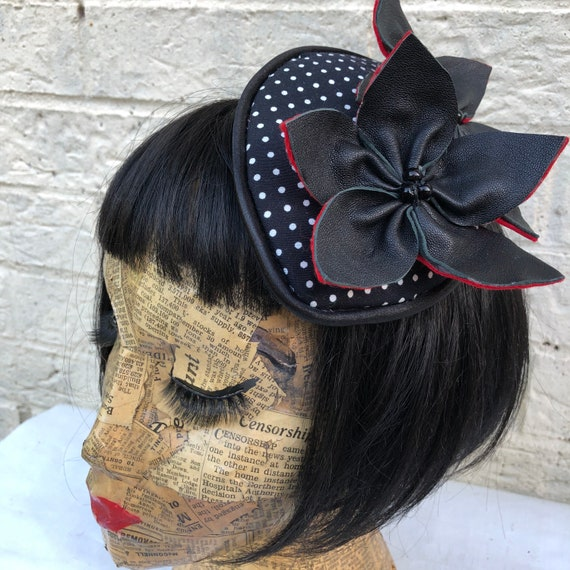 Polka Dot and Black Leather Flower Fascinator Rockabilly Pinup 1950's Inspired