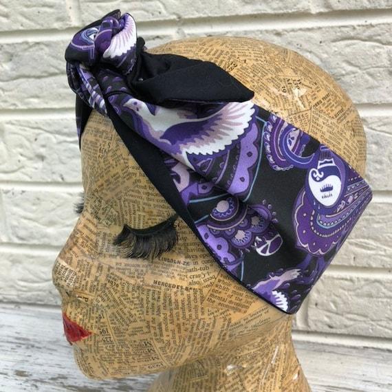 Prince Purple Rain  Print Headscarf Rockabilly Pinup 1950's Inspired