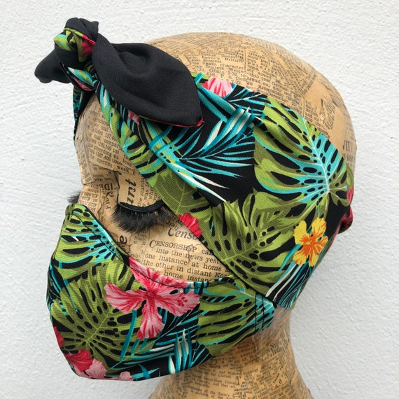 Tropical Headscarf And Double Layered Face Mask Set Rockabilly