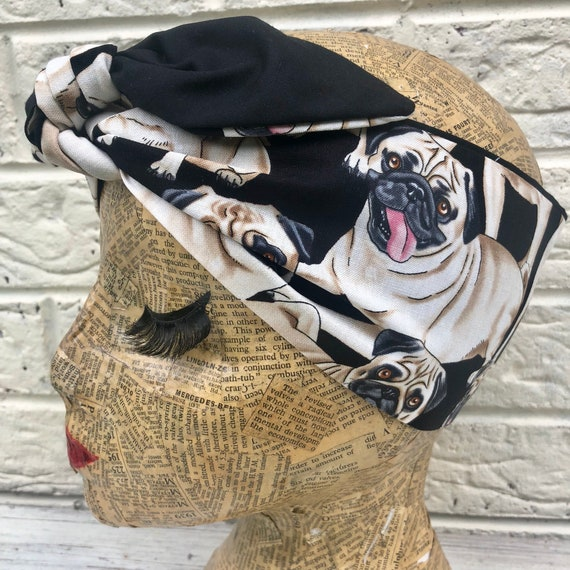 Pug Dog Headscarf Rockabilly Pinup 1950's Inspired