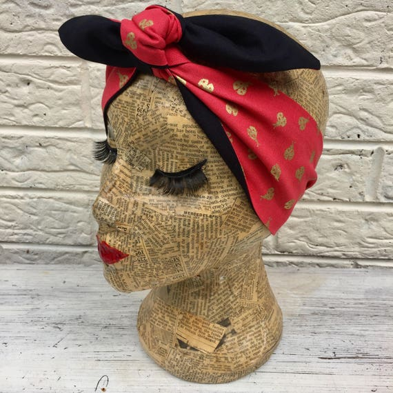 Ladybird Headacarf Red/Gold Rockabilly Pinup 1950's Inspired