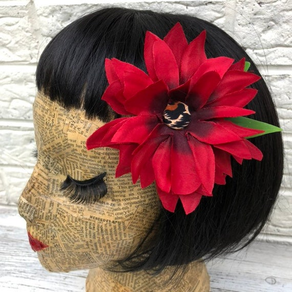 Red Hair Flower with Leopard Print centre Rockabilly Pinup 1950s Inspired