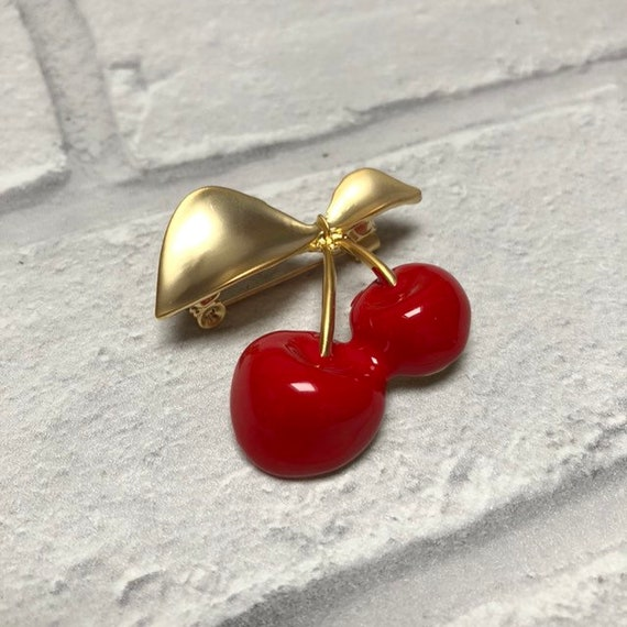 Enamel Cherry Brooch Pin Rockabilly Pinup 1950s Inspired