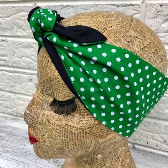 Emerald Green Polka Dot Headscarf Rockabilly Pinup 1950's  inspired
