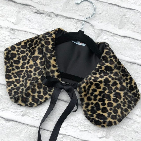 Leopard Print Faux Fur Collar Rockabilly Pinup 1950's Inspired