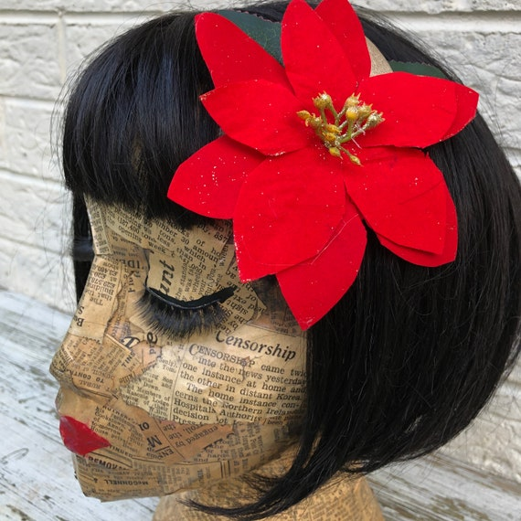 Poinsettia Hair flower Rockabilly Pinup 1950's Inspired