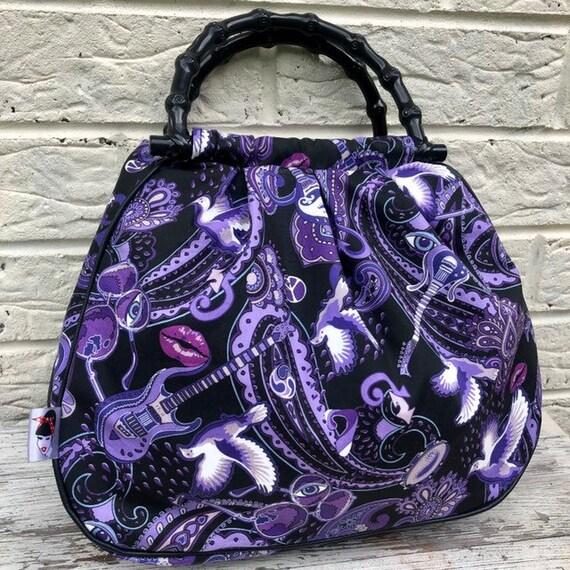 Prince Purple Rain Print Handbag Rockabilly Pinup 1950s Inspired