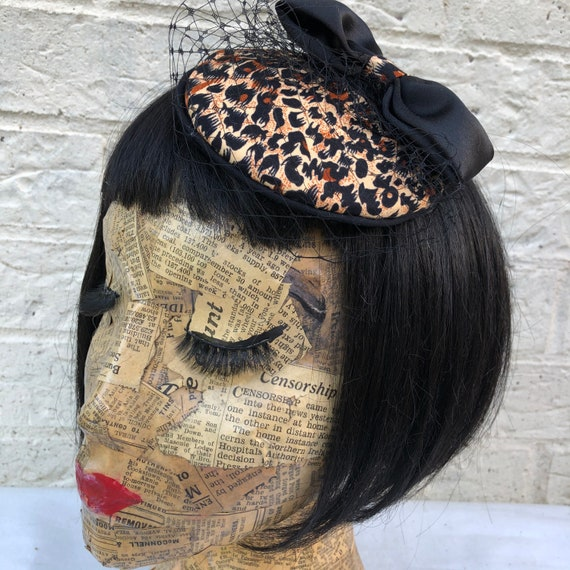 Leopard Print Fascinator Rockabilly Pinup 1950's Inspired
