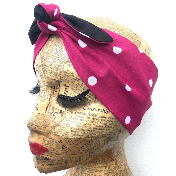 Pink Polka Dots   Headscarf Rockabilly Pinup 1950's  inspired