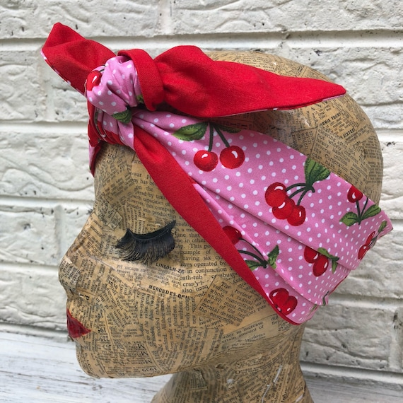 Pink Polka Dot Red Cherry Headscarf Rockabilly Pinup 1950's Inspired
