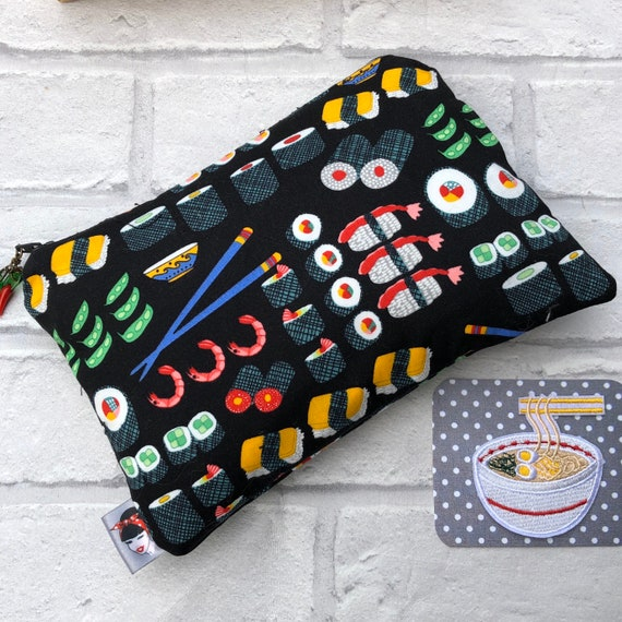 sushi Cosmetic Bag and Patch Gift Set Rockabilly Pinup 1950's Inspired