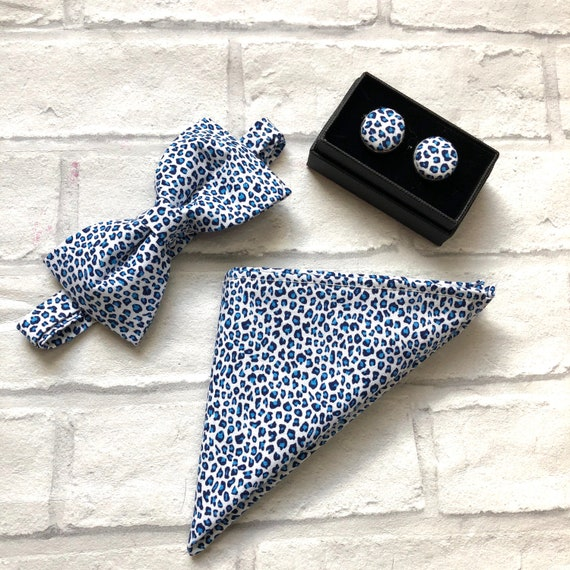 Blue Leopard Print Gift Set / Bow tie / Pocket Square / Cuff Links
