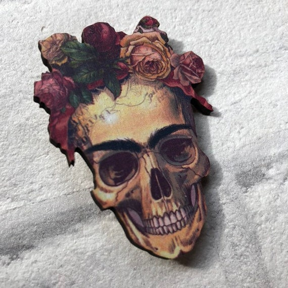 Frida Inspired Pin Brooch Rockabilly Pinup 1950's