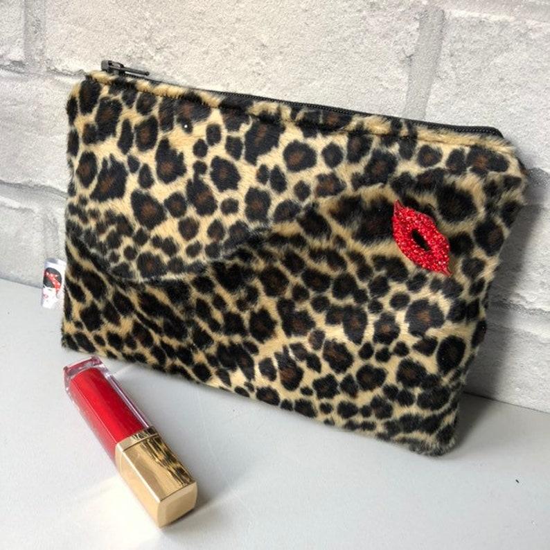 85fd65e90b11 Faux Fur Leopard Print Cosmetic Makeup bag Rockabilly Pinup