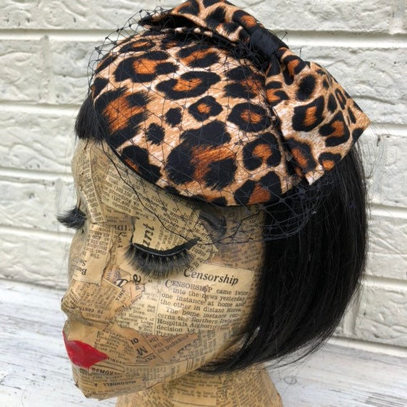 Leopard Print  Fascinator Rockabilly Pinup 1950s Inspired