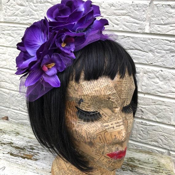 Purple Tiki Flower Headpiece Rockabilly Pinup 1950's Inspired