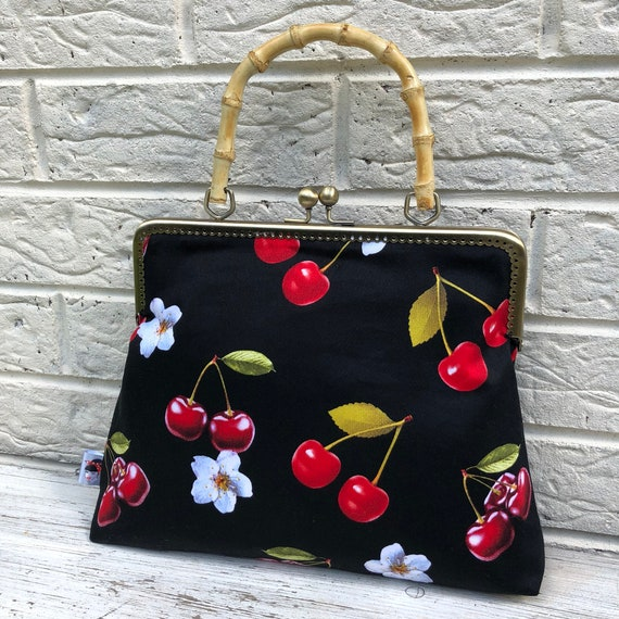 Cherry lily Tiki Print Handbag Rockabilly Pinup 1950's Inspired
