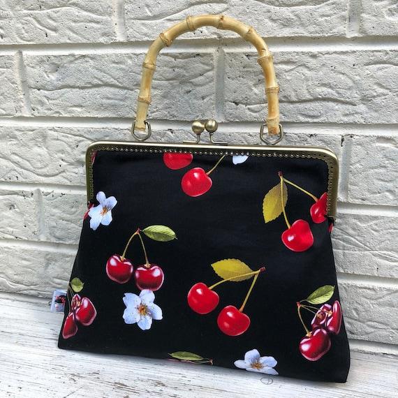 Cherry lily Tiki Print Handbag Rockabilly Pinup 1950's Inspired