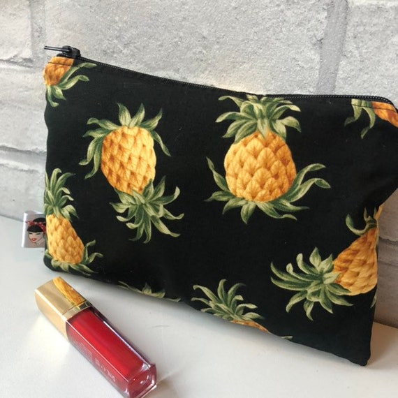 Vintage Pineapple Cosmetic Bag and Pin Gift Set Rockabilly Pinup 1950's Inspired