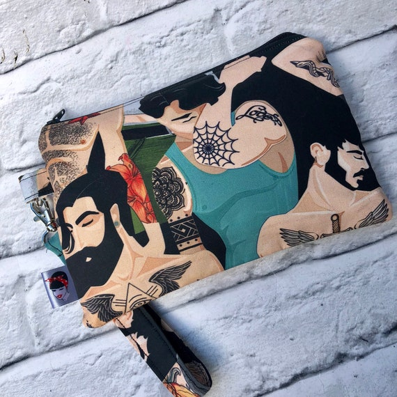 Bearded Tattoed Men Clutch Bag Rockabilly Pinup 1950's Inspired