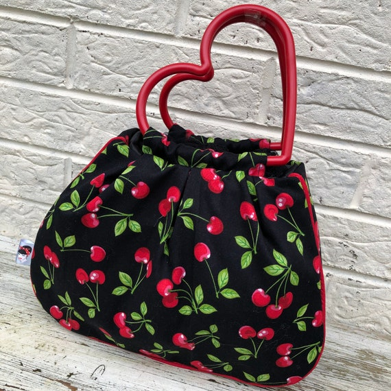 Cherry Print handbag Rockabilly Pinup 1950s Inspired