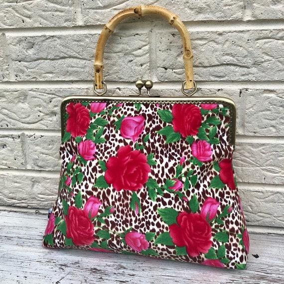 Leopard Print Red Rose Handbag Rockabilly Pinup 1950's Inspired