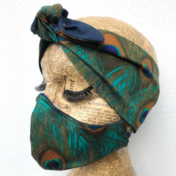 Peacock Feather Headscarf And Double Layered Face Mask