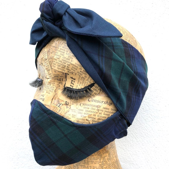 Blackwatch Tartan  Headscarf And Double Layered Face Mask Set