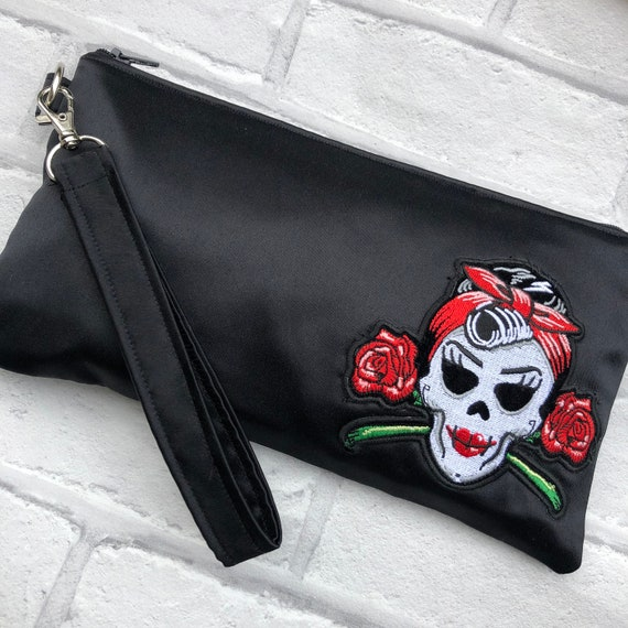Black Duchess Satin Clutchbag Rockabilly Pinup 1950's Inspired