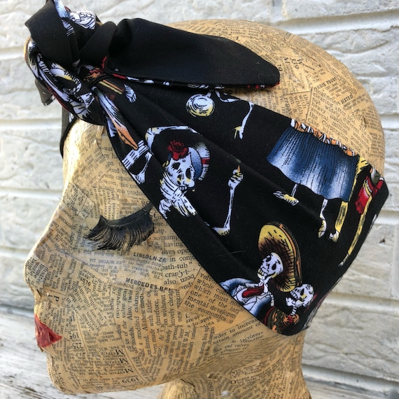 Day of the Dead Headscarf Rockabilly Pinup inspired