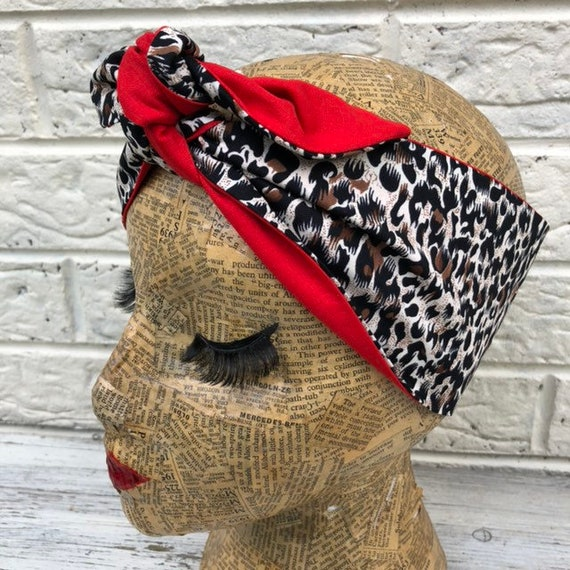 Leopard Print / Red Headacarf Rockabilly Pinup 50's inspired