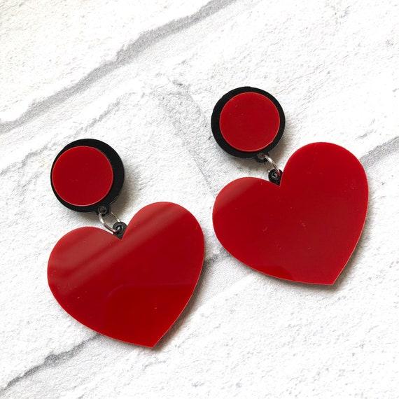 Love Heart Acrylic Earrings Rockabilly Pinup 1950s Inspired