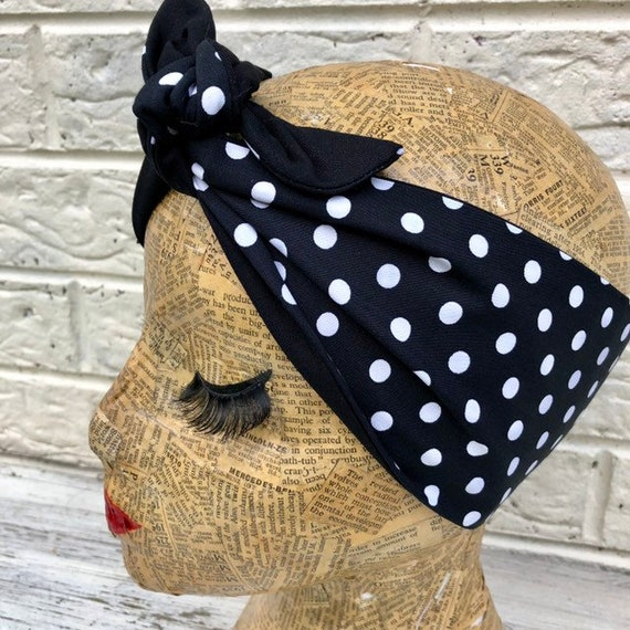 Black and White Polka Dot Headscarf Rockabilly Pinup 1950's inspired