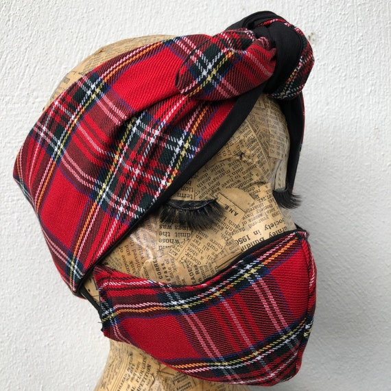 Royal Stewart Tartan Headscarf and Double Layered Face Mask Set Rockabilly Pinup Inspired