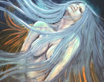 Moonlight Mermaid original painting by artist Rafi Perez Mixed Medium on Canvas 24X36
