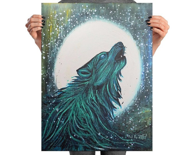 Water Wolf Full Moon Photo Art Poster Design By Rafi Perez