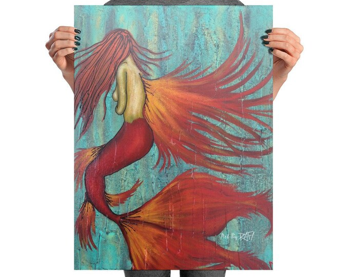 Fire Mermaid Photo Art Poster Design By Rafi Perez
