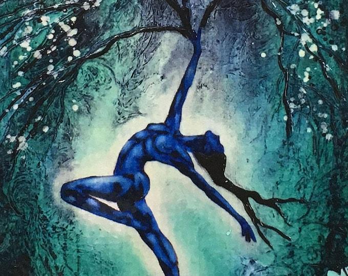 Nature Of Being Reaching Tree Rustic Wall Art By Artist Rafi Perez Original Textured Artist Enhanced Print On Wood