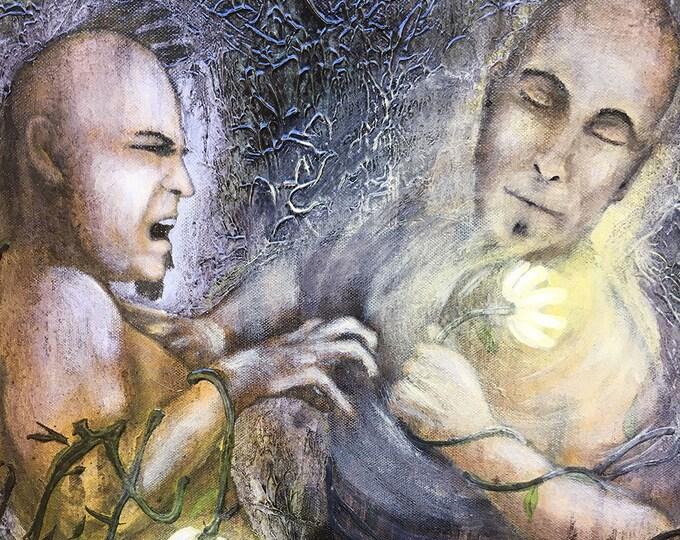 Original Painting Gratitude and Envy Wall Art by artist Rafi Perez Mixed Medium on Canvas 24X36
