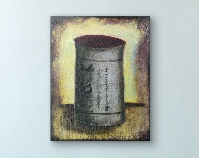 Wine Cork Original Painting by Artist Rafi Perez Mixed Medium Textured on Canvas 24X30