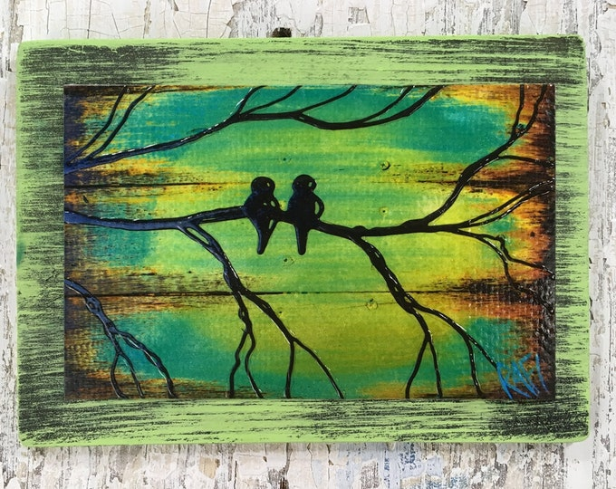 Little Love Birds Rustic Wall Art By Artist Rafi Perez Original Textured Artist Enhanced Print On Wood