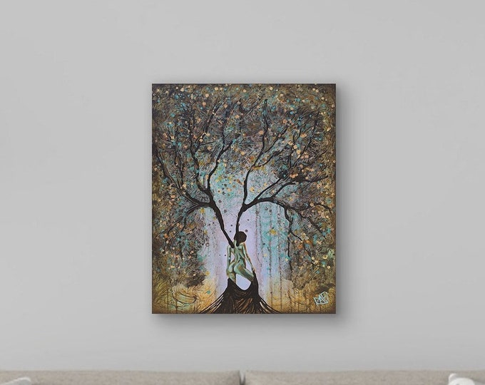 Original Painting Woman Summer Tree Wall Art by artist Rafi Perez Mixed Medium on Canvas 18X24