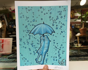 Kiss In The Rain Wall Art by Artist Rafi Perez Original Artist Enhanced Print 8X10