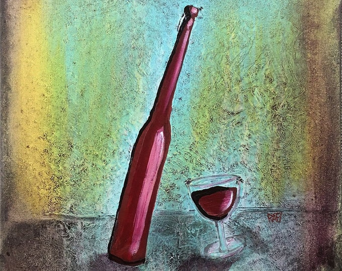 Whimsical Red Wine Original Painting by Artist Rafi Perez Mixed Medium Textured on Canvas 18X24