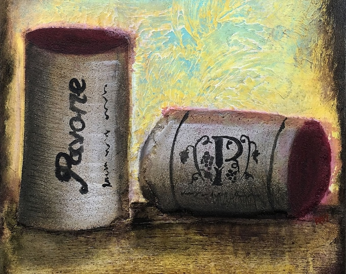 Two Wine Cork Original Painting by Artist Rafi Perez Mixed Medium Textured on Canvas 18X24