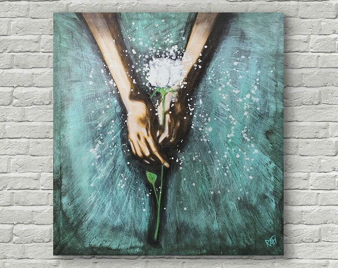White Rose Textured Original Painting By Artist Rafi Perez on Canvas 36X38