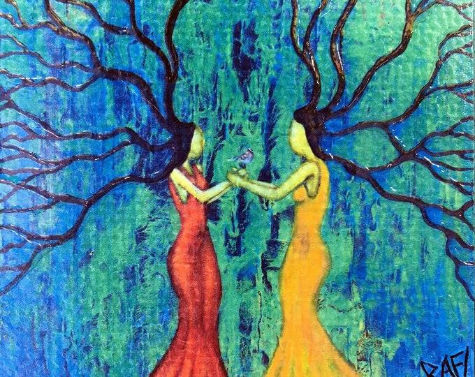 Sister Love Rustic Wall Art By Artist Rafi Perez Original Textured Artist Enhanced Print On Wood