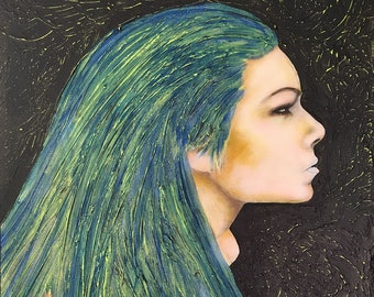 Girl With The Blue Hair Original Painting by artist Rafi Perez Mixed Medium on Canvas 24X18