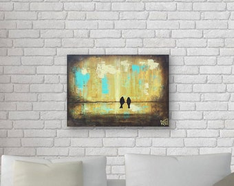 Love Birds On A Wire Original Painting by Artist Rafi Perez Mixed Medium on Canvas 18X24