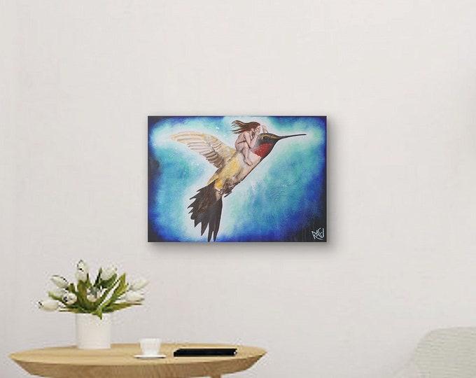 Flight Of The Hummingbird original painting by artist Rafi Perez Mixed Medium on Canvas 18X24
